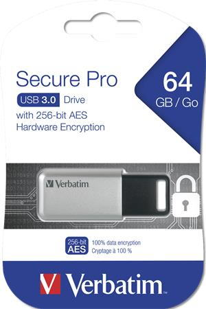 Pendrive 64GB USB 3.0 GDPR VERBATIM SECURE DATA PRO szürke -